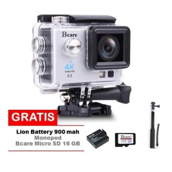 Harga Bcare Action Camera -X-3 WiFi - 16MP - Silver + Gratis Bcare SD Card 16 GB Class 10 + Monopod +Battery 900 mAh