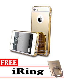 Jual Case for Apple iPhone 5 Aluminium Bumper With Mirror Backdoor Slide\n- Gold + Free iRing murah