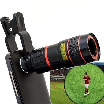 Harga Universal Clip 8X Zoom Mobile Phone Telescope Lens Telephoto External Smartphone Camera Lens for Smartphone PC Laptop - intl