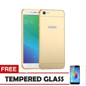 Case Metal Vivo Y55 Bumper Mirror Slide - Gold+ Tempered Glass