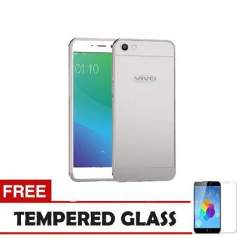 Case Metal Vivo Y55 Bumper Mirror Slide - Silver + Tempered Glass