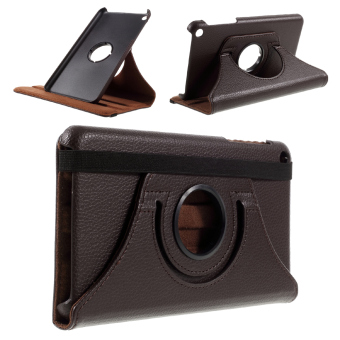 Litchi Texture Rotating Stand Leather Folio Cover for Huawei MediaPad T1 10 - Coffee - intl