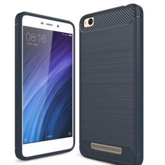 Harga Carbon Fiber Anti-drop TPU Soft Phone Cases For Xiaomi Redmi 4a - Biru Navi + Free Tempered Galss
