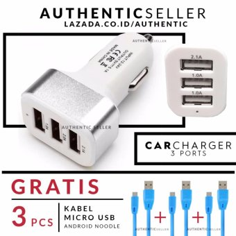 Harga Authentic Car Charger 5.1A 3 USB Port - Charge Mobil Metallic Gratis 3 PCS kabel data android micro usb