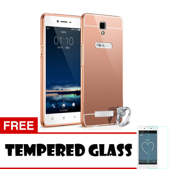 Harga Casing Oppo Neo 3 / R831K Casing Bumper Mirror - Rose Gold + Free Tempered Glass