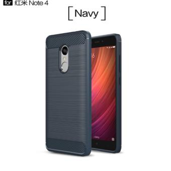 Harga Carbon Fiber Anti-drop TPU Soft Phone Cases For Xiaomi Redmi Note 4 - Biru Navi