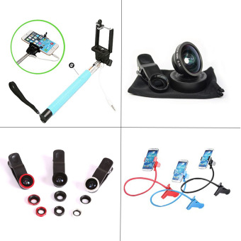 Harga Monopod Paket Hemat 4in1 Tongsis + Lensa Superwide + Fisheye 3in1 + Lazypod