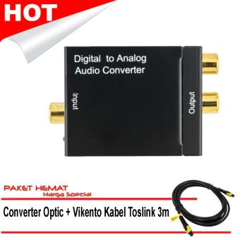 Digital Optical Toslink Coax to Analog L/R RCA Audio Converter + 3M Fiber Cable