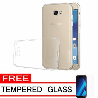Softcase Silicon Ultrathin for Samsung Galaxy A3 2017 - White Clear + Free Tempered Glass