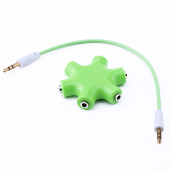 Harga 3.5mm Earphone Headphone Audio Splitter 6 Female Audio Ports(Green)