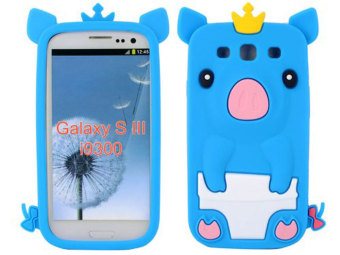 Harga Leegoal Baby Blue 3D Happy Crown Pig Soft Silicone Gel Case Cover for Samsung Galaxy S3 III i9300 - intl