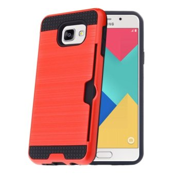 Harga Shockproof Armor Rubber Soft TPU + Hard PC Credit Card Slot Case for Samsung Galaxy A5 2017/A520(Red) - intl