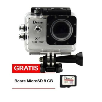 Harga Bcare B-Cam X-1 Action Camera - 12 MP full HD 1080P - Silver + Gratis Bcare Micro SD 8GB