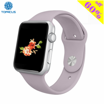 Harga top4cus silikon band untuk pengganti olahraga tali pengikat perhiasan Apple Watch iWatch seri 1 dan 2-42 mm - Kecil/Medium - Lavender