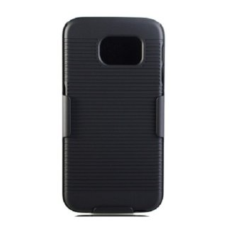 Harga XCASE Samsung Galaxy S6 Flat Slim Rubberized Case with Clip Belt-Hitam