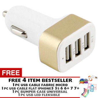 Harga Pokeshop - Car Charger 5.1A 3 Port Charger Mobil Gold + Gratis USB Cable Micro + USB Cable Roll iPhone 5 5s 5c 6 6+ 7 7+ +Bumper Karakter + LED USB Portable