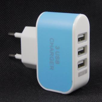 Harga uNiQue USB Charger Rumah Trio 3 Port - Biru