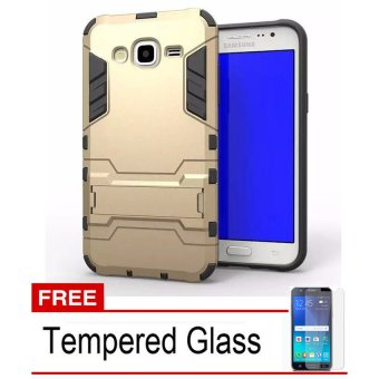 Casing TPU + PC Phone Case for Samsung Galaxy J3 2016 - Emas + Free Tempered