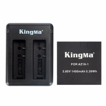 Harga Kingma Combo Deluxe Battery Charger / Set Baterai For Xiaomi Yi 4K Ver.2 Action Camera (1x Battery + 1 Charger) - Hitam