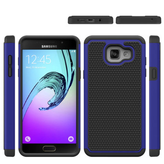 Heavy Duty Armor Shock Absorbing Dual Layer Hybrid Rugged Rubber Cover Case For Samsung Galaxy A5(2016) A510 - Blue - intl