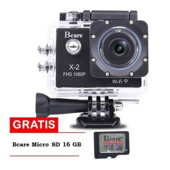 Harga Bcare Action Camera B-Cam X-2 Wifi - 12 MP Full HD 1080P - Hitam + Gratis SD Card 16GB