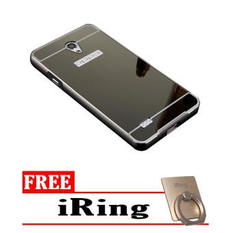 Case Metal for Oppo Joy 3 Aluminium Bumper With Mirror Backdoor Slide - Black + Free