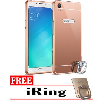 Case Mirror Aluminium Bumper For Oppo F1 + iRing - Rose Gold