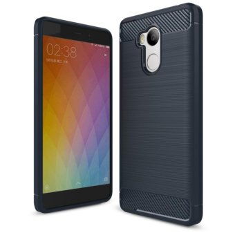 Harga iPaky Carbon Fiber Anti-drop TPU Soft Phone Cases For Xiaomi Redmi 4 Prime - Biru Navi + Free Tempered Galss