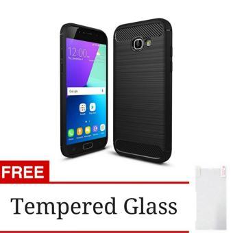 iPaky Carbon Fiber Shockproof Hybrid Back Case for Samsung A720 / A7 2017 - Black +