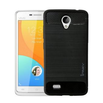 iPaky Carbon Fiber Shockproof Hybrid Back Case for VIVO Y21 - Black