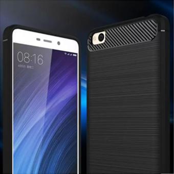 Discount iPaky Carbon Fiber Shockproof Hybrid Back Case for Xiaomi Redmi 4A - Black + Gratis