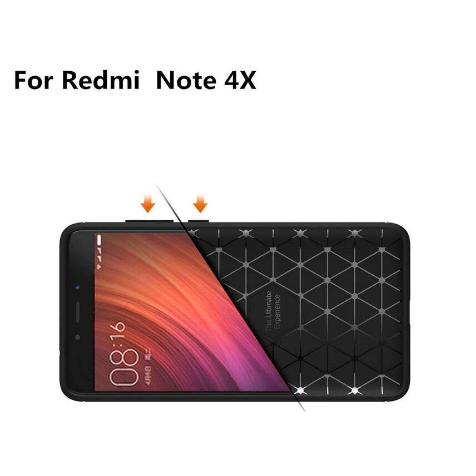 iPaky Carbon Fiber Shockproof Hybrid Case for Xiaomi Redmi Note 4X - Black .