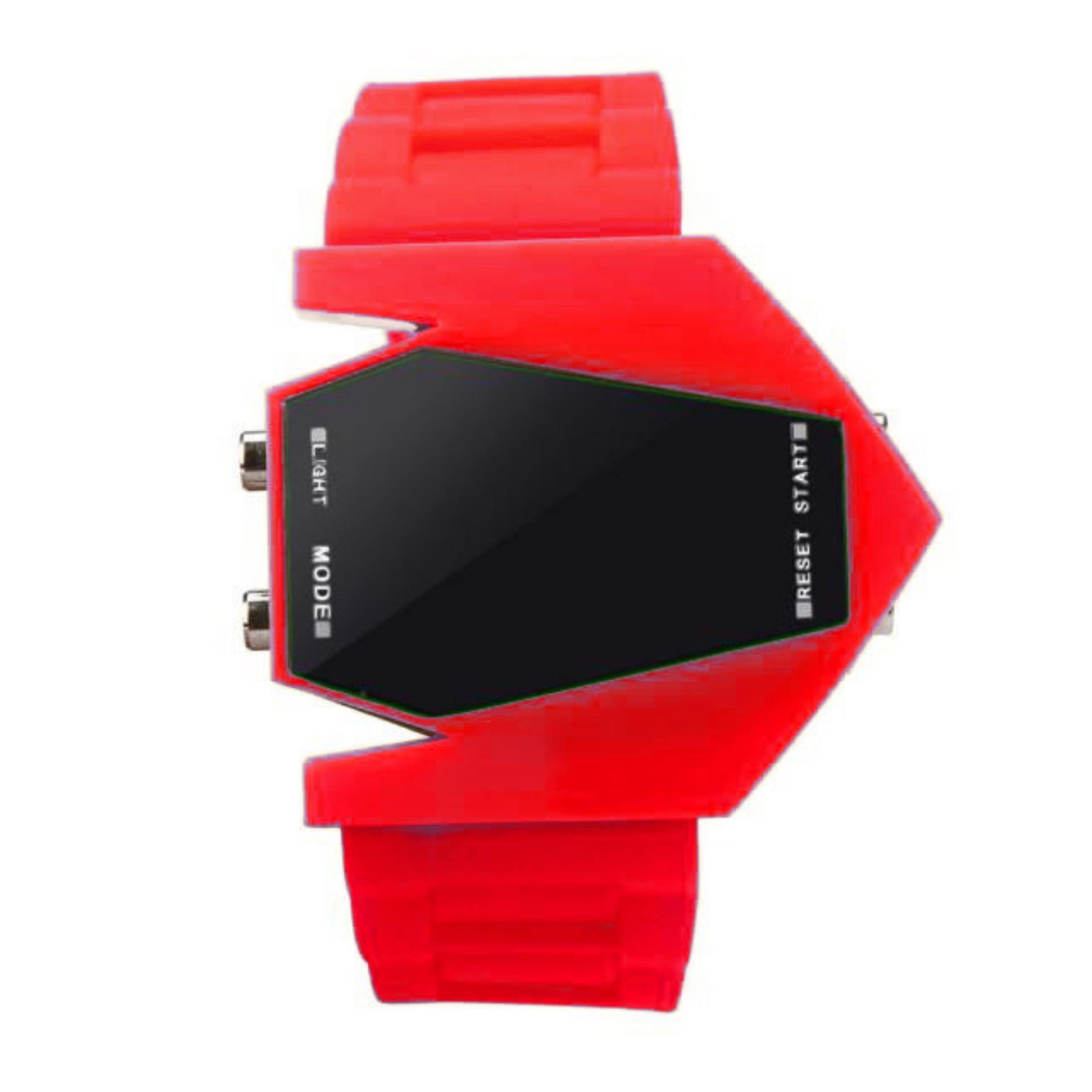 Jam Tangan LED Airplane Pilot - Flashlight Alarm - Jam Tangan Pria dan Wanita Sport -