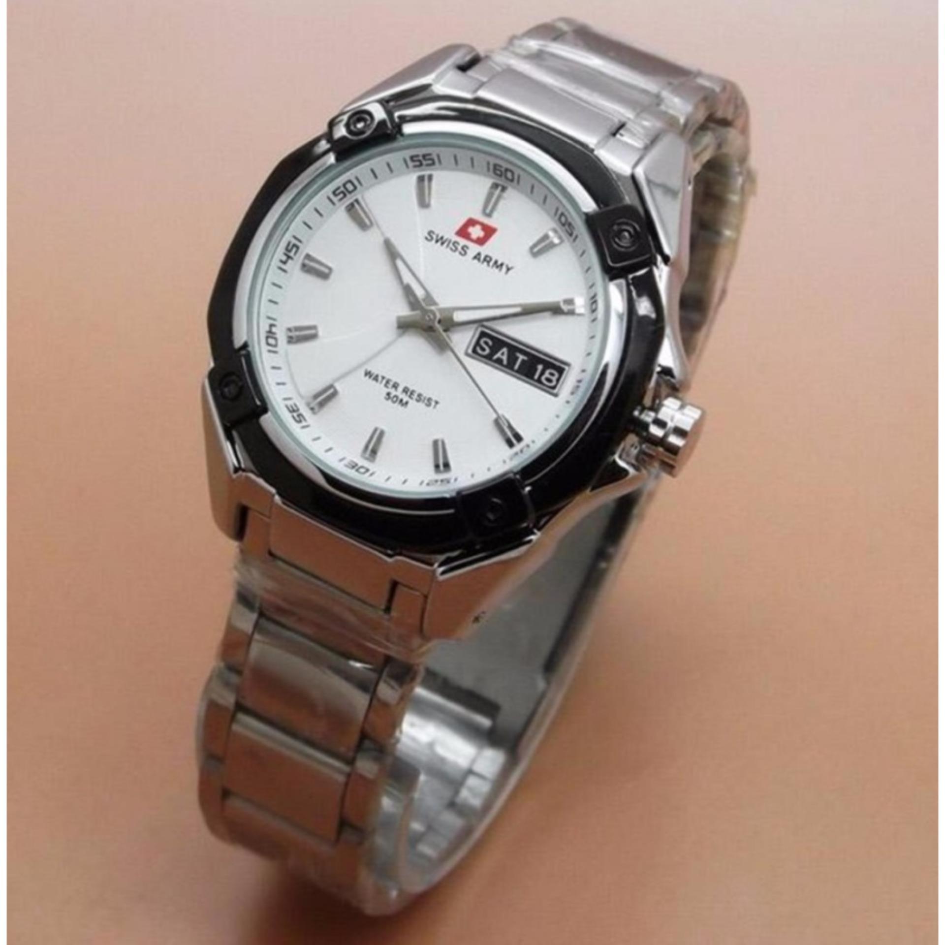 ... Swiss Army Analog Jam Tangan Pria Silver Hitam Strap Rantai 1475m Source Jam Tangan Wanita Swiss