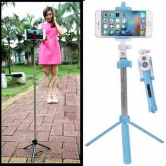 JBS - Tongsis 3 in 1 With Bluetooth + Tripod Selfie Stick - Biru