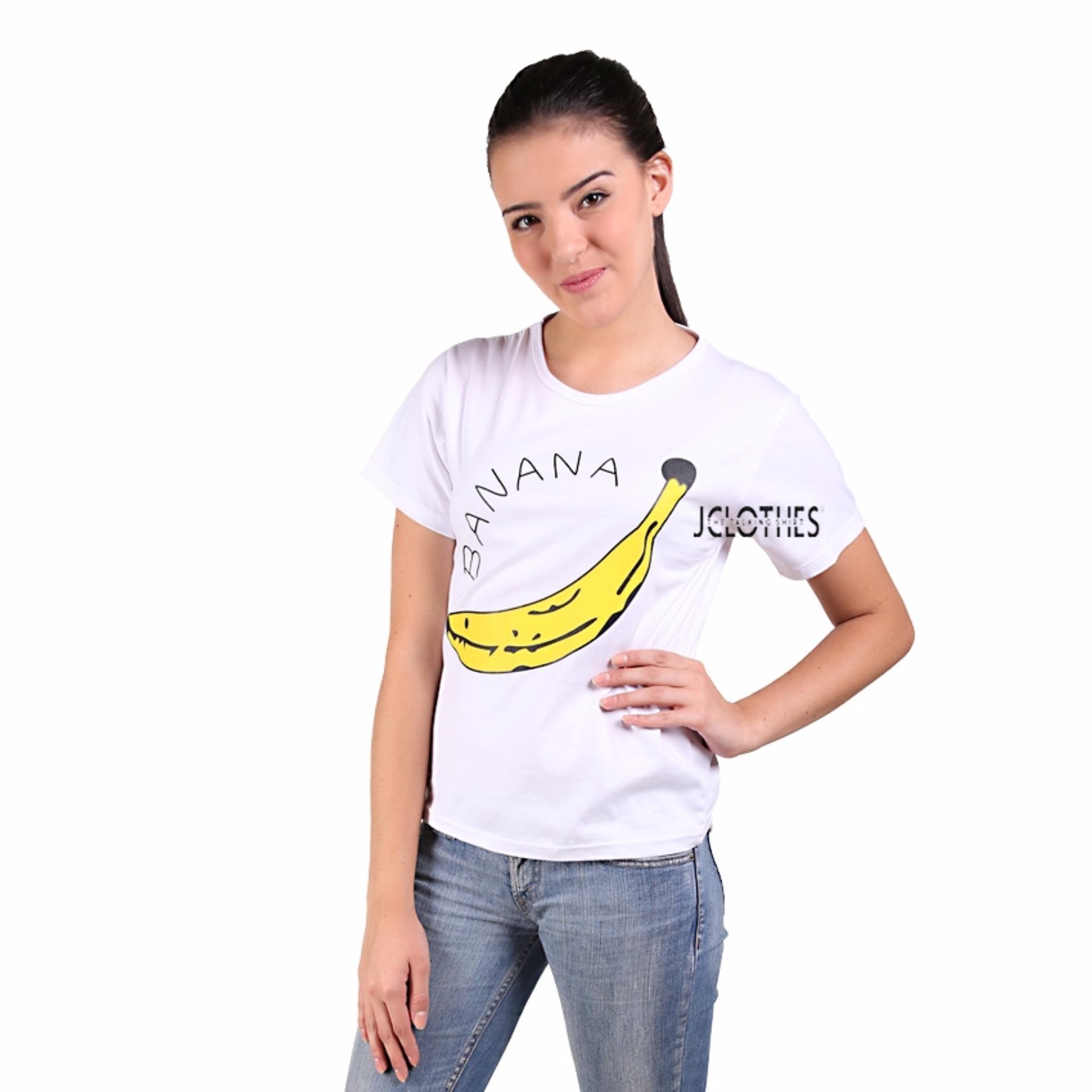 JCLOTHES Kaos Cewe / Tumblr Tee / Kaos Wanita Banana - Putih
