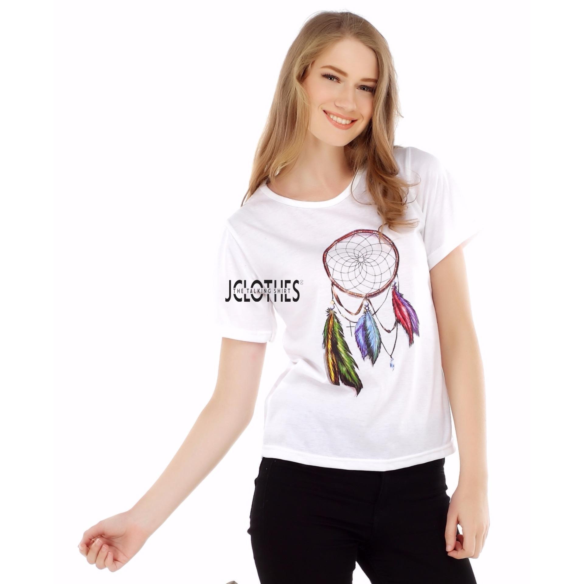 JCLOTHES Kaos Cewe / Tumblr Tee / Kaos Wanita Dream Catcher - Putih