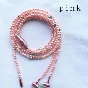Jewelry Earphone Pearl Necklace In-ear Headphone Fashion Shiny Headset Color:Pink