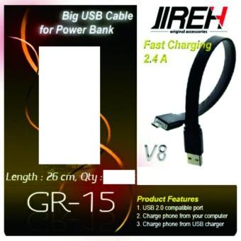 JIREH kabel charger micro v8 fast charger 2.4 A 26cm warna hitam