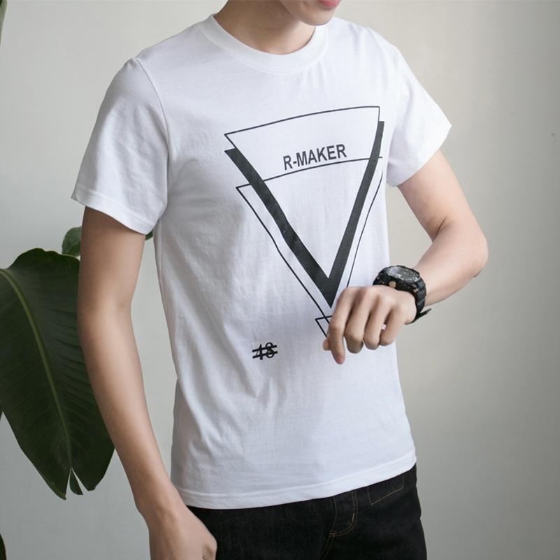 Jiusaiying Kaos Pria Lengan Pendek Bahan Katun Kerah Bulat Motif Huruf Ala  Korea (Segitiga Putih fb7ae5237e