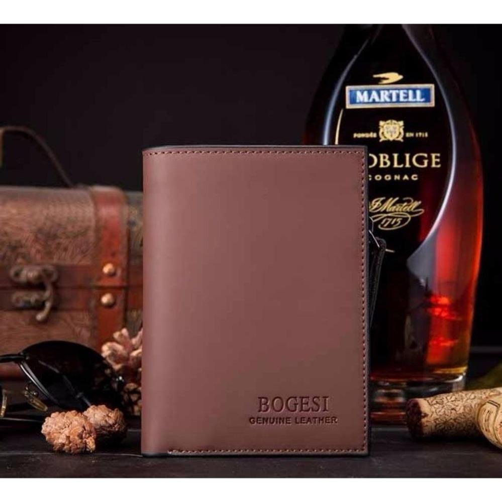 JK Dompet Pria Zipper Wallet - Premium PU Leather dengan Resleting - Coffee Brown