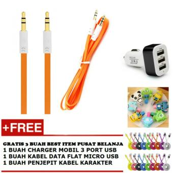 Kabel Aux Audio 3.5mm Jack Flat - Orange + Gratis 1 Buah Charger Mobil 3
