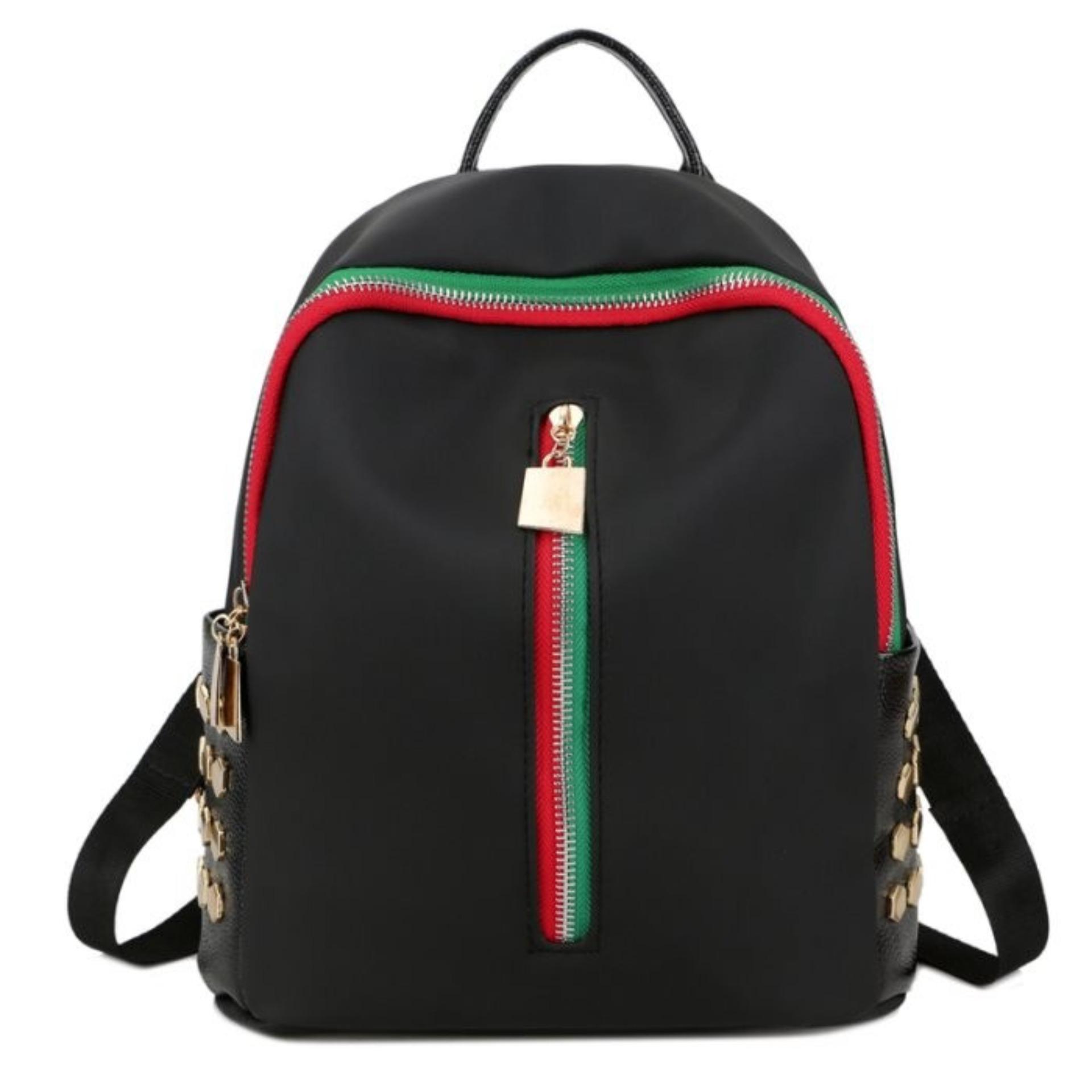 KGS Tas Ransel Mini Backpack Wanita Casual Red Green Vertical Zipper Hitam