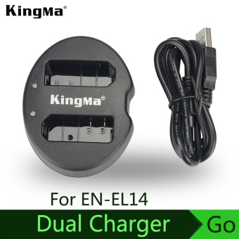 Harga KingMa EN-EL14 For Nikon digital batteries Camera Double (Dual)Battery Charger D5200 D3100 D3200 D5100 P7000 P7100 MH-24 - intl