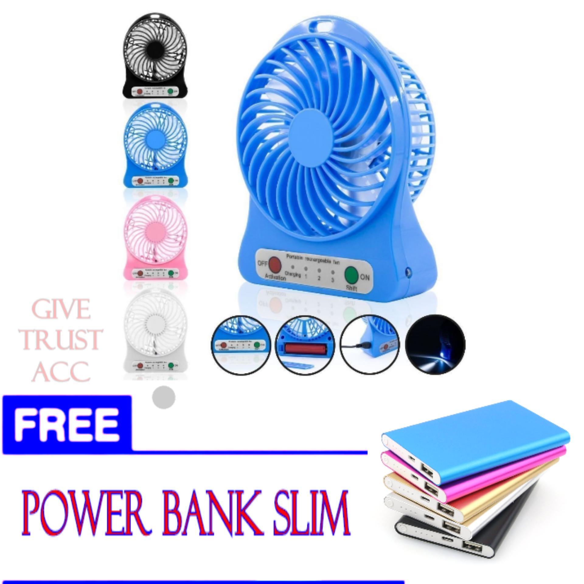 Kipas Angin USB Mini Fan Portable Dengan Baterai Charger + FREE POWER BANK SLIM.