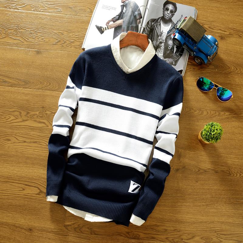 Korea Fashion Style Pria Leher Bulat Remaja Baju Wol Sweter (Biru Tua)