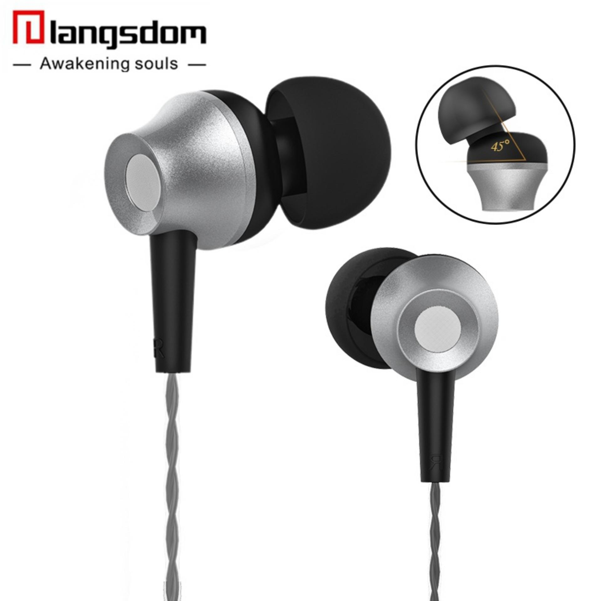 Langsdom M299 Volume Control Earphones Metal Stereo earphone with Mic 3.5mm In-Ear Headset for Apple Samsung Sony HTC Mp3 Tablet