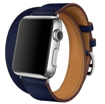 Leather Band Double Tour Bracelet Watchband For Apple Watch Series 1/2 42MM BU -