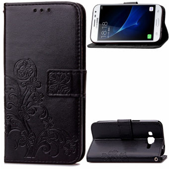 Lucky Clover PU Leather Flip Magnet Wallet Stand Card Slots Case Cover for Samsung Galaxy J3
