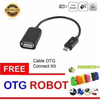 Lucky - OTG Cable Connection Kit Mobile Phone / Kabel OTG - Hitam + Gratis OTG Adapter Micro USB Robot - 1 Pcs (Random Color)